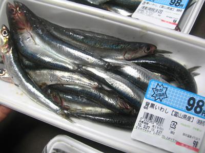 刺身用イワシ、1パック98円!